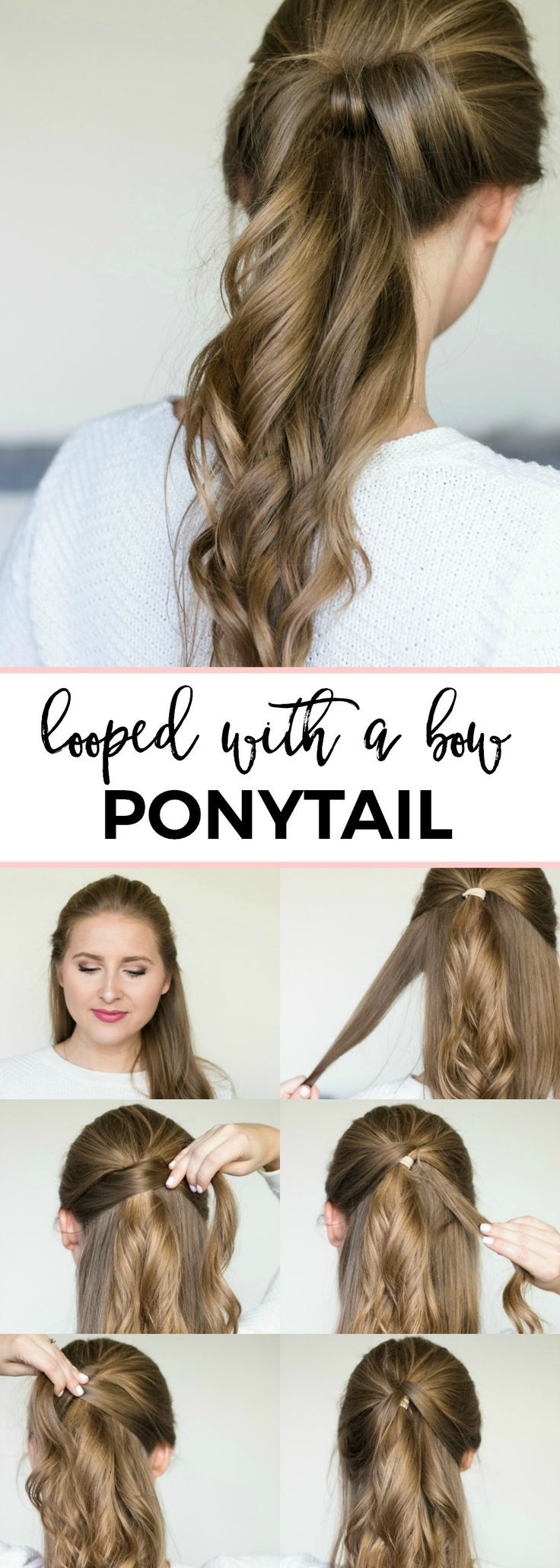 Looped with a bow ponytail - easy 5-minute hair tutorial | Fancy looped ponytail...