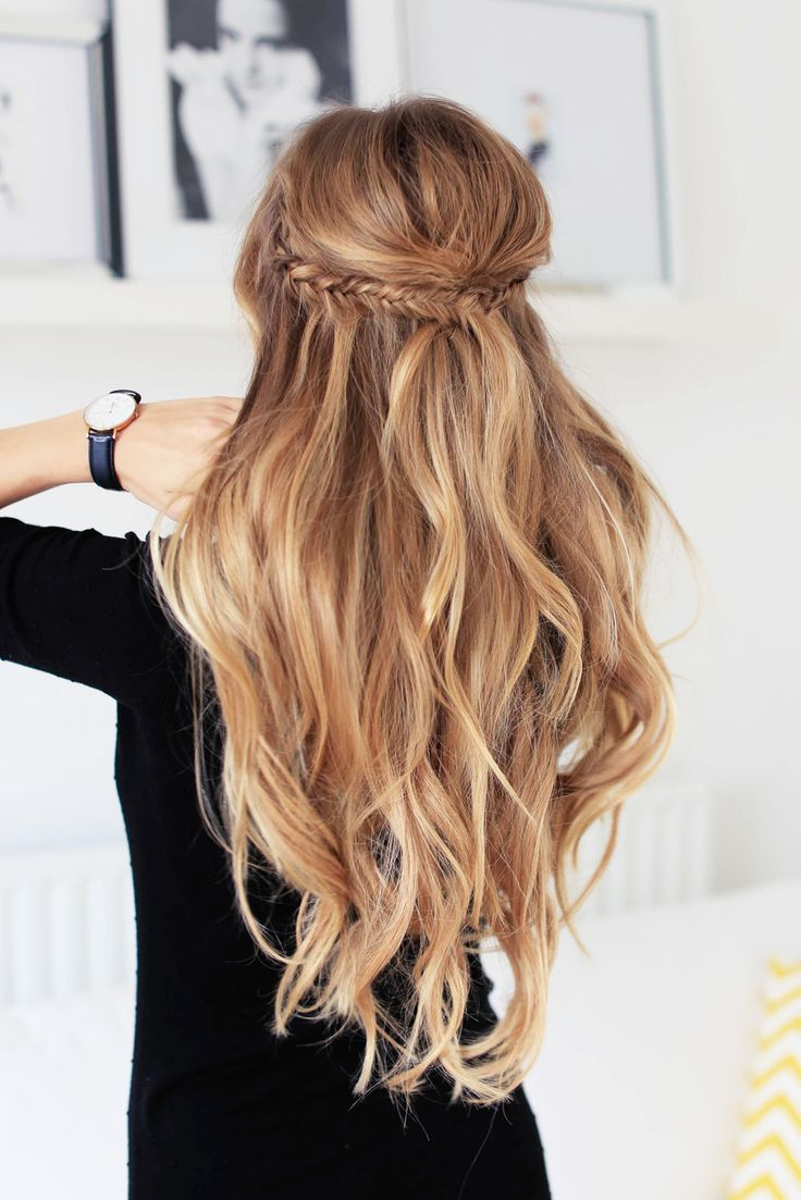 Make two small fishtail braids on each side, then put them together with a ponyt...