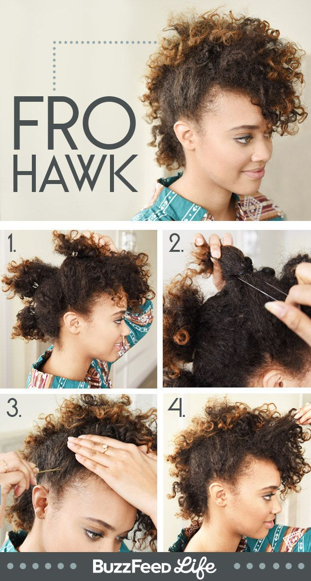 Pull your hair up into four sections to create an awesome curly faux hawk. | 19 ...