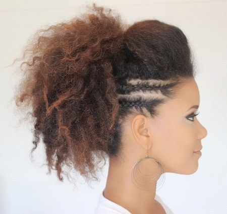Section your hair into two parts for a braided and bumped up ponytail. | 19 Natu...