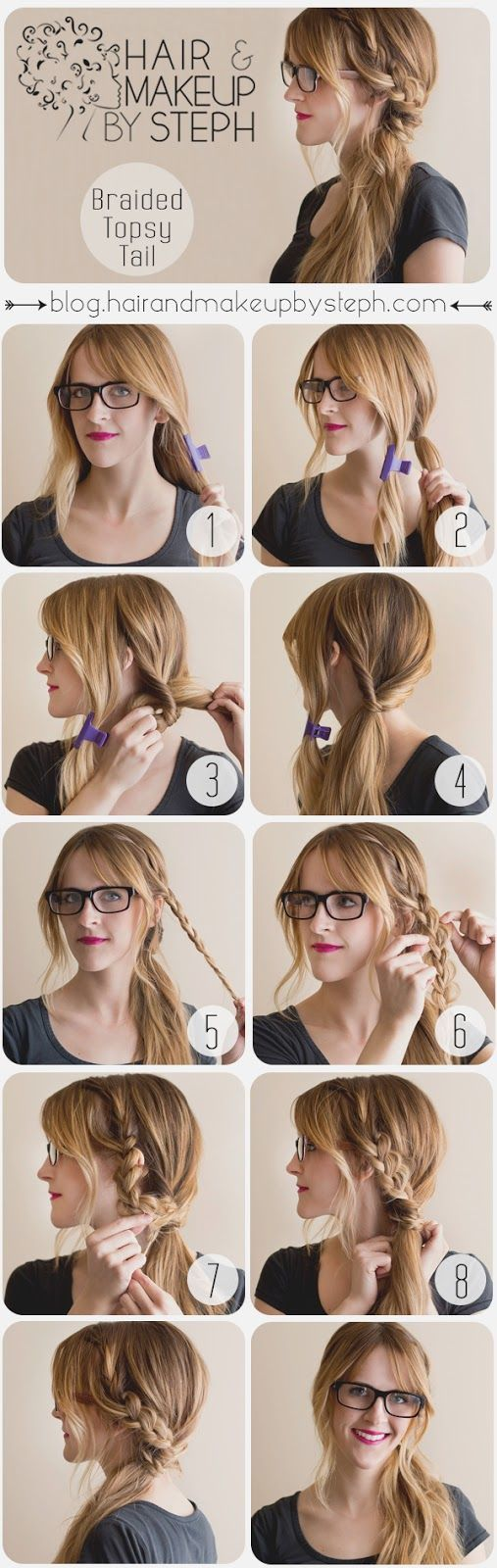 So Simple and cute! Braided Topsy Tail. Grown-up version of what I used to do wh...