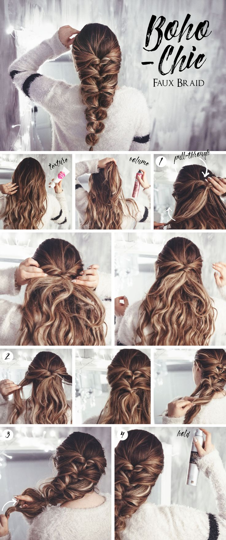 This bohemian-chic faux braid takes almost no time at all and is so easy to do! ...
