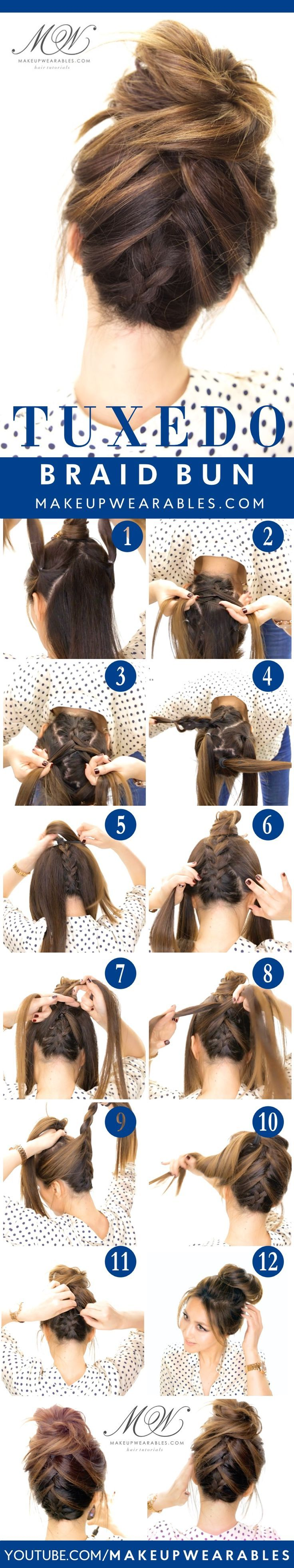 Tuxedo Braid Bun Tutorial | 5 Messy Updos for Long Hair, check it out at makeupt...
