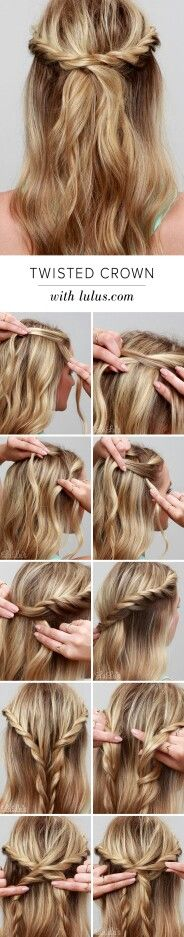 Twisted crown hair updo