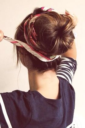 Wrap a head scarf around a bun -- Lots of other ideas for hair and not