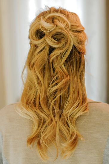 25 Gorgeous Half-Up, Half-Down Hairstyles. Rosette Half Up Pretty spirals remini...