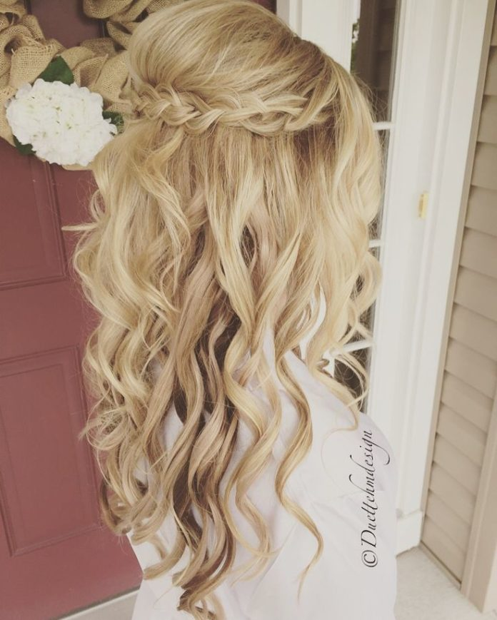 Half Up Half Down Wedding Hairstyles Braided Updo Half Up Half Down Romantic Loose Curls Blonde Hair Updo Beauty Haircut Home Of Hairstyle Ideas Inspiration Hair Colours Haircuts Trends
