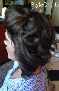 vintage hair, curls, finger waves, bridal updo, down do, half up half down, wedd...
