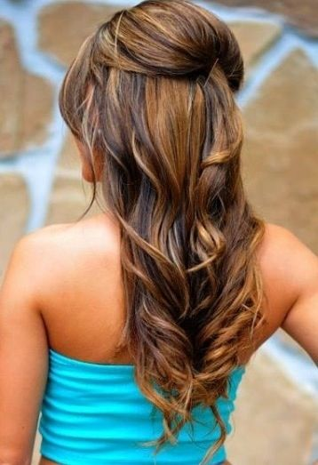 wedding day bridal hair - half up/half down with small poof/bouffant/beehive and...