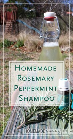Homemade Rosemary Peppermint Shampoo | www.homemademommy... #diybeauty #essentia...