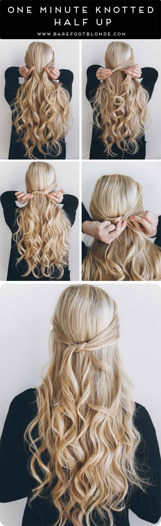 Best 5 Minute Hairstyles - 1 Minute Knotted Half Up - Quick And Easy Hairstyles ...