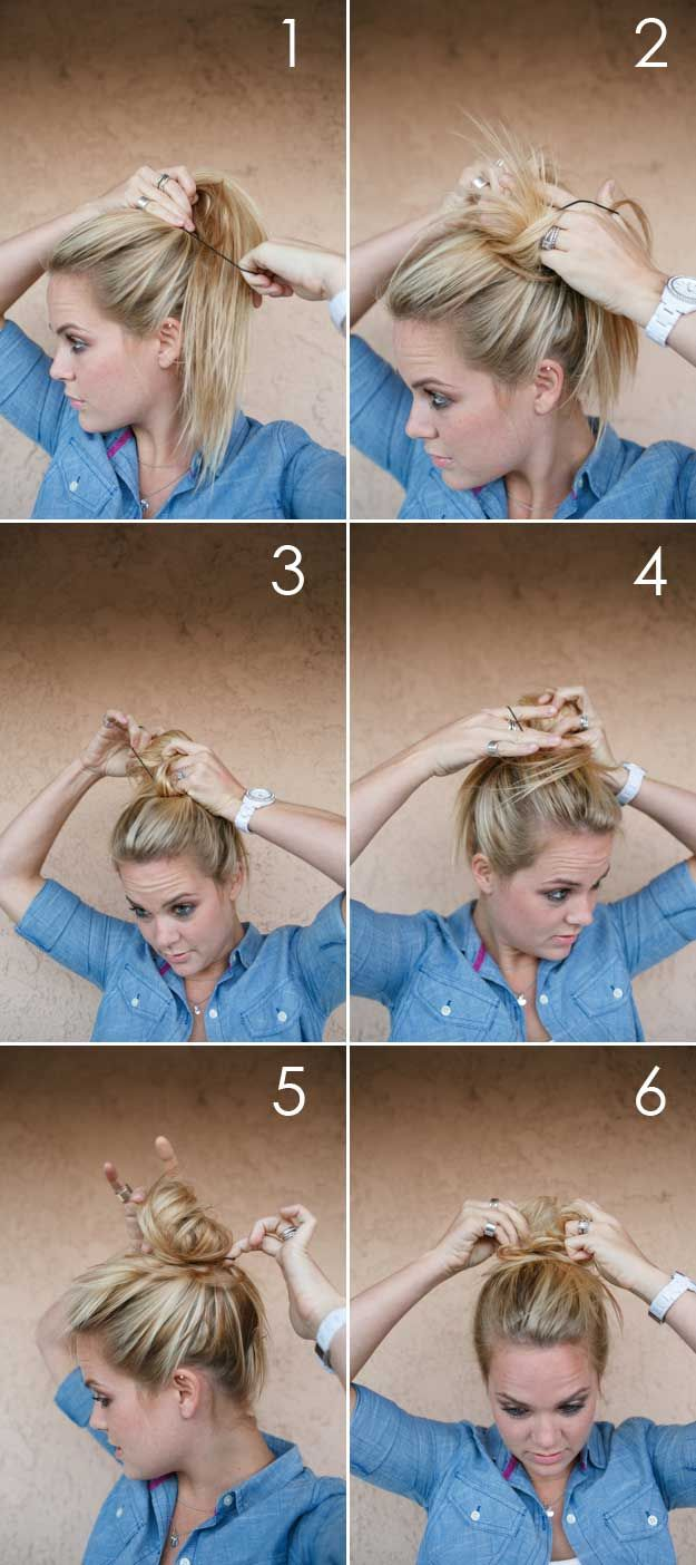 Best 5 Minute Hairstyles - Hair Tutorial: Messy Bun - Quick And Easy Hairstyles ...