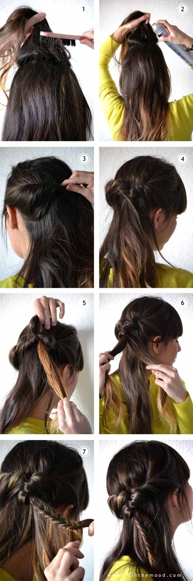 Best 5 Minute Hairstyles - Half Up Fishtail - Quick And Easy Hairstyles and Hair...