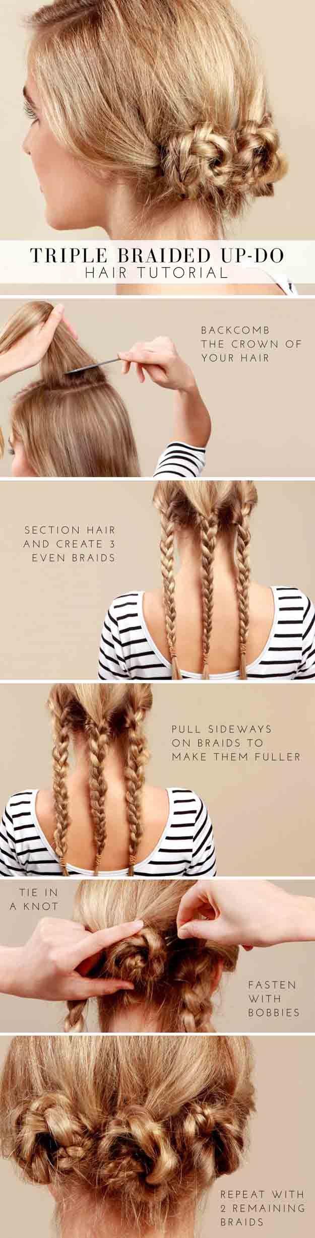 Best Hair Braiding Tutorials - BEAUTY Lulus How To Triple Braided Bun Tutorial -...