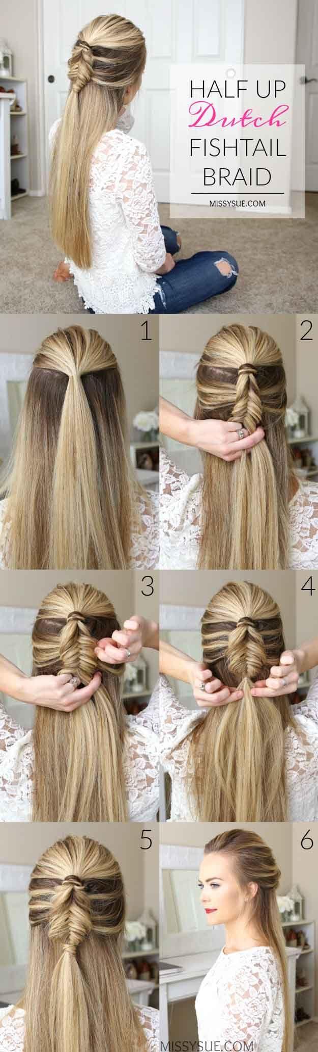 Best Hair Braiding Tutorials - Half Up Mini Dutch Fishtail Braid - Step By Step ...