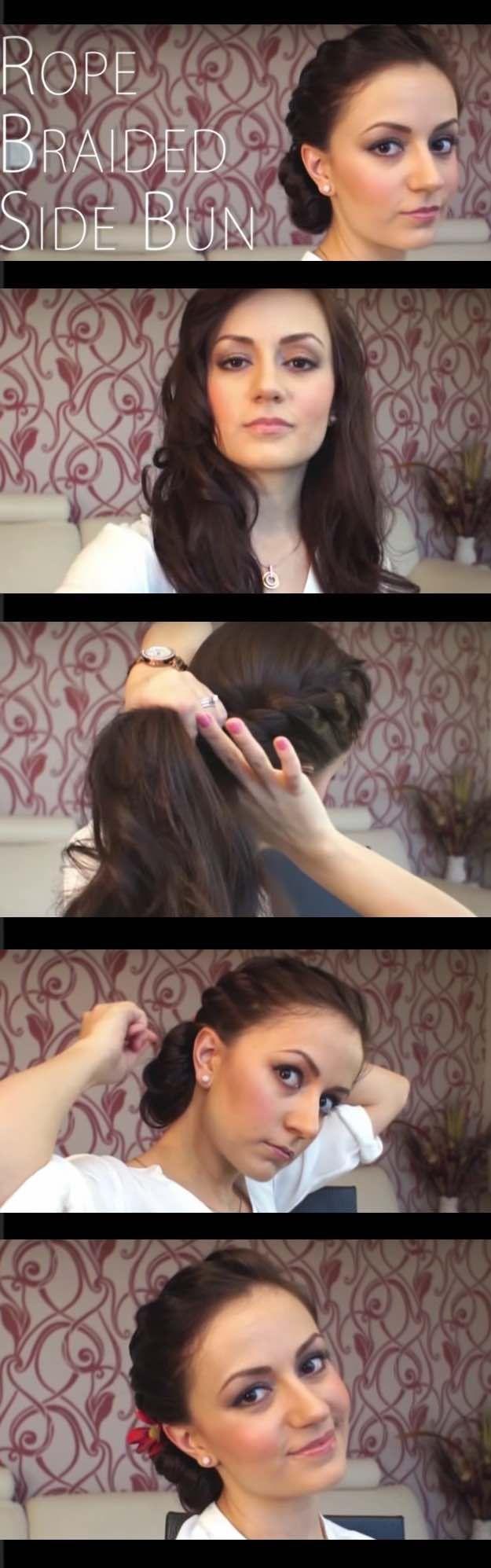 Best Hair Braiding Tutorials - Rope Braided Side Bun - Step By Step Easy Hair Br...