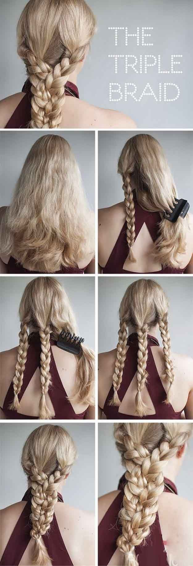 Best Hair Braiding Tutorials - The Triple Braid - Step By Step Easy Hair Braidin...