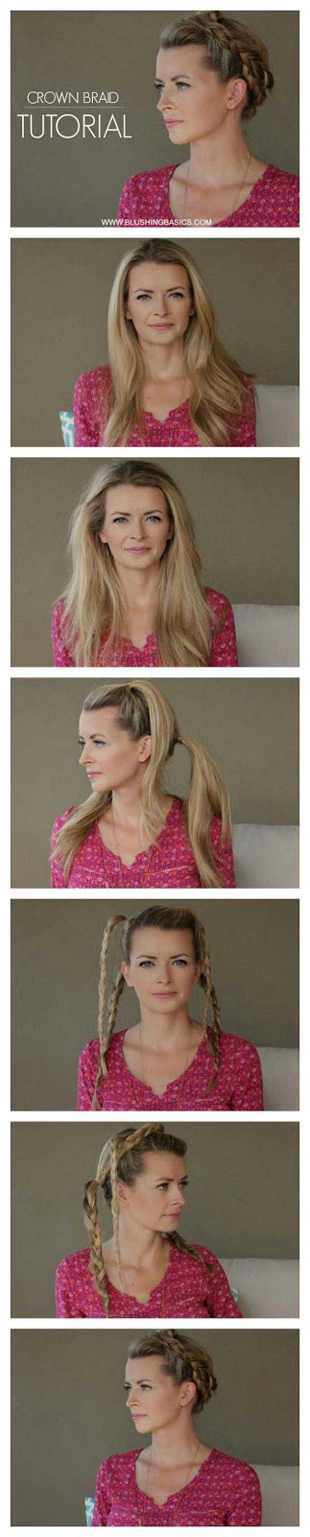 Best Hairstyles for Summer - Crown Braid Tutorial - Easy and Cute Hair Styles fo...