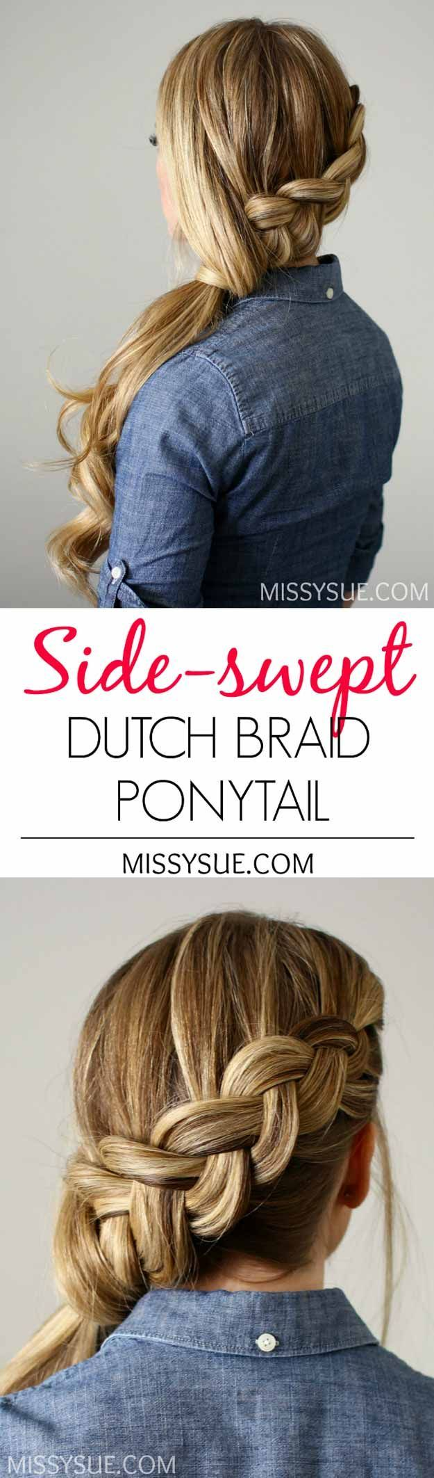 Best Hairstyles For Teens - Side-swept Dutch Braid Ponytail- Easy And Cute Hairc...