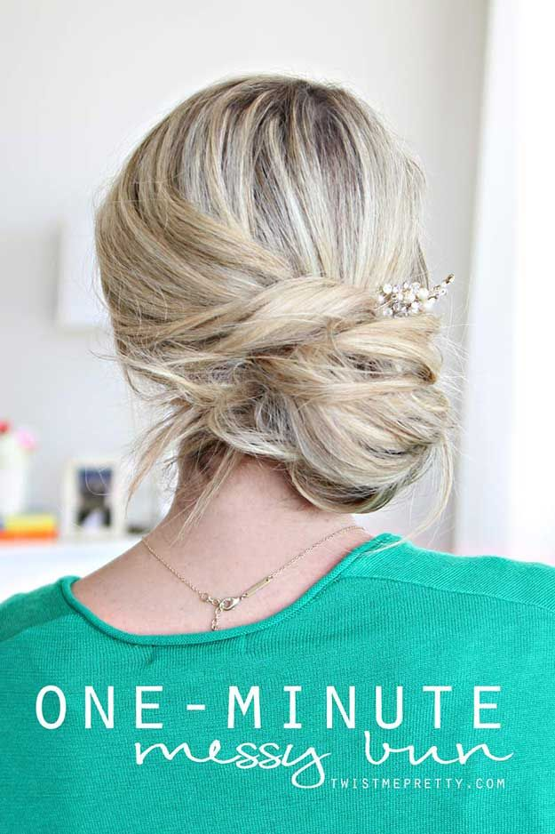 Best Summer Hairstyles - One-Minute Messy Bun Tutorial - Easy And Beautiful Shor...