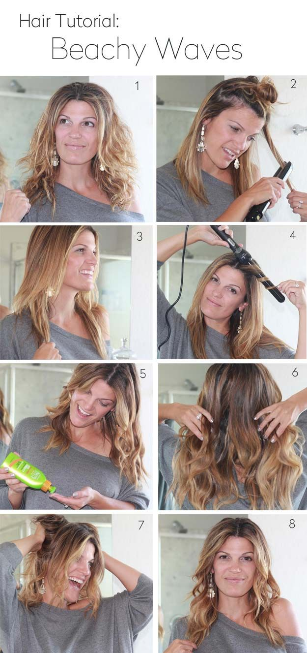 Easy Beachy Waves Tutorials for Hair - How To Create Beachy Waves - DIY And Easy...