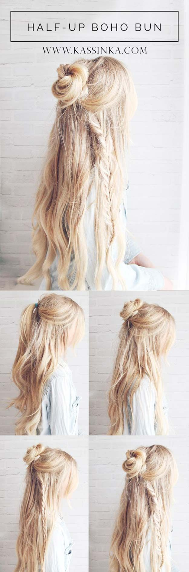 Festival Hair Tutorials - Half-up Boho Braided Bun Hair Tutorial - Short Quick a...