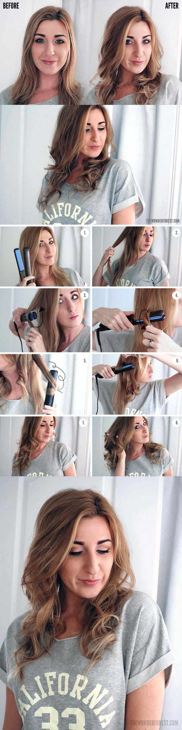 Hair Straightening Tutorials - How to Curl Your Hair with a Flat Iron -Looking F...