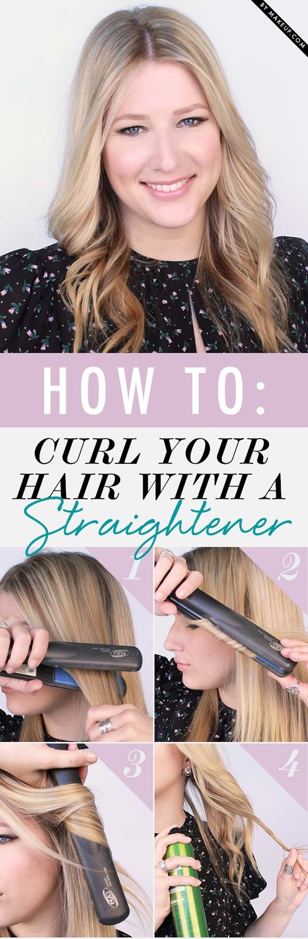 Hair Straightening Tutorials - How To: Curl Your Hair with a Straightener -Looki...