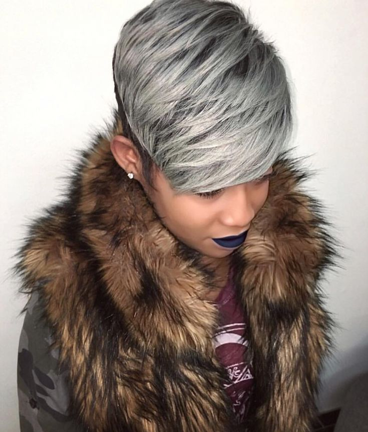 Fierce gray pixie via @hairbylatise - blackhairinformat...