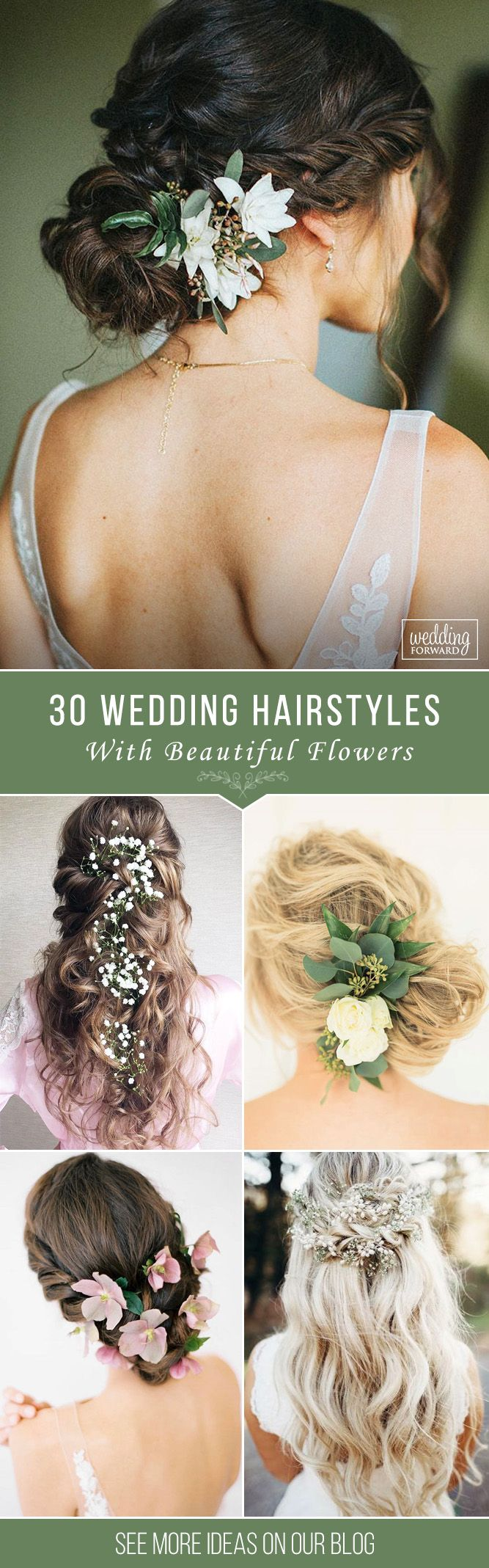 30 Unforgettable Wedding Hairstyles With Flowers ❤ To emphasize tenderness, br...