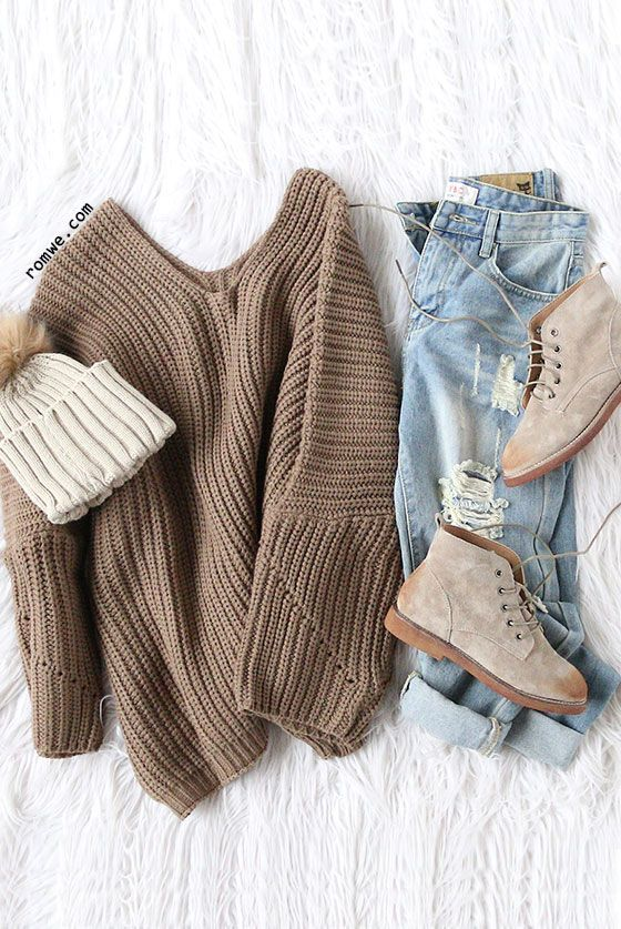 Coffee V Neck Drop Shoulder Oversized Sweater with ripped denim jeans and khaki ...