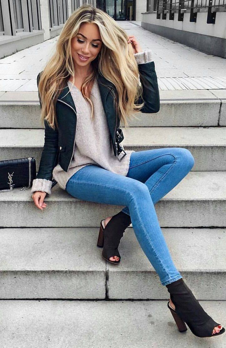 #cute #outfits Cream Blouse // Black Leather Jacket // Skinny Jeans // Black Boo...