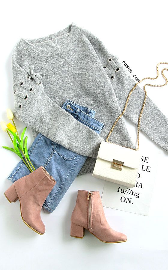 Grey Eyelet Lace Up Sleeve Pullover Sweater with denim skirt and heel boots from...