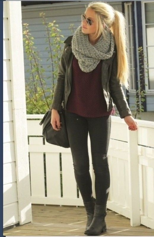Moto Jacket | Knit Infinity Scarf, Superb Fall Outfit