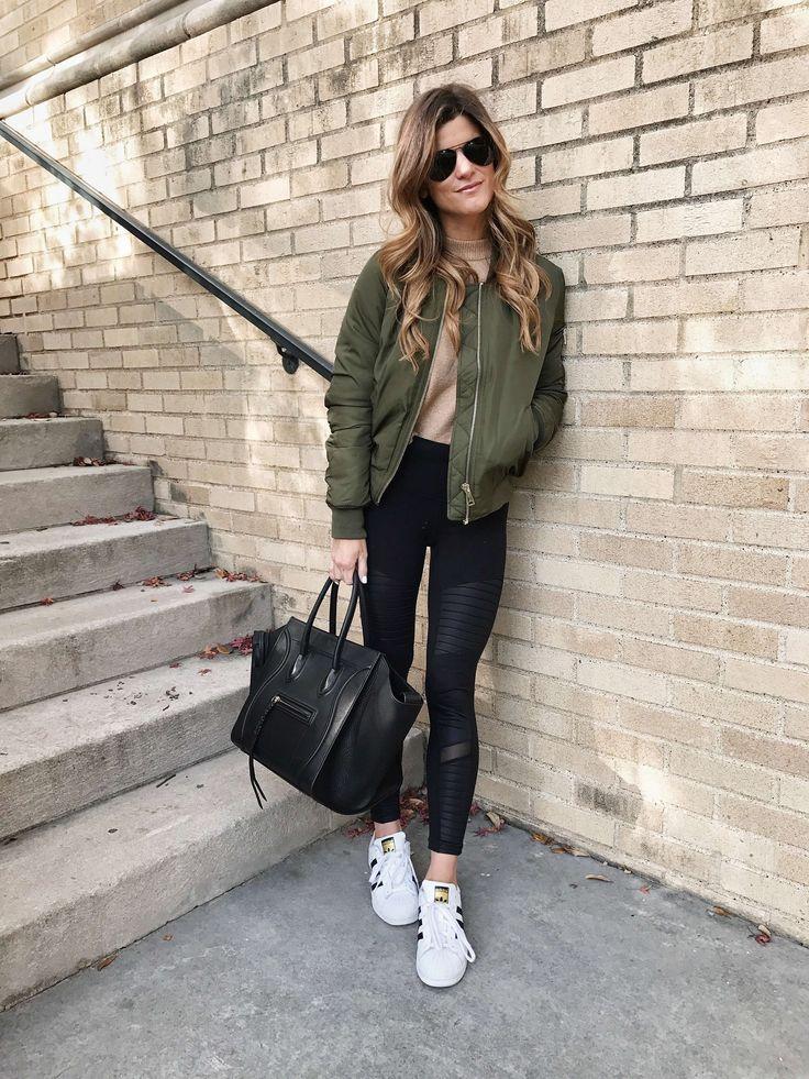 sportswear lux trend, moto AYO leggings, adidas allstar sneakers, topshop olive ...