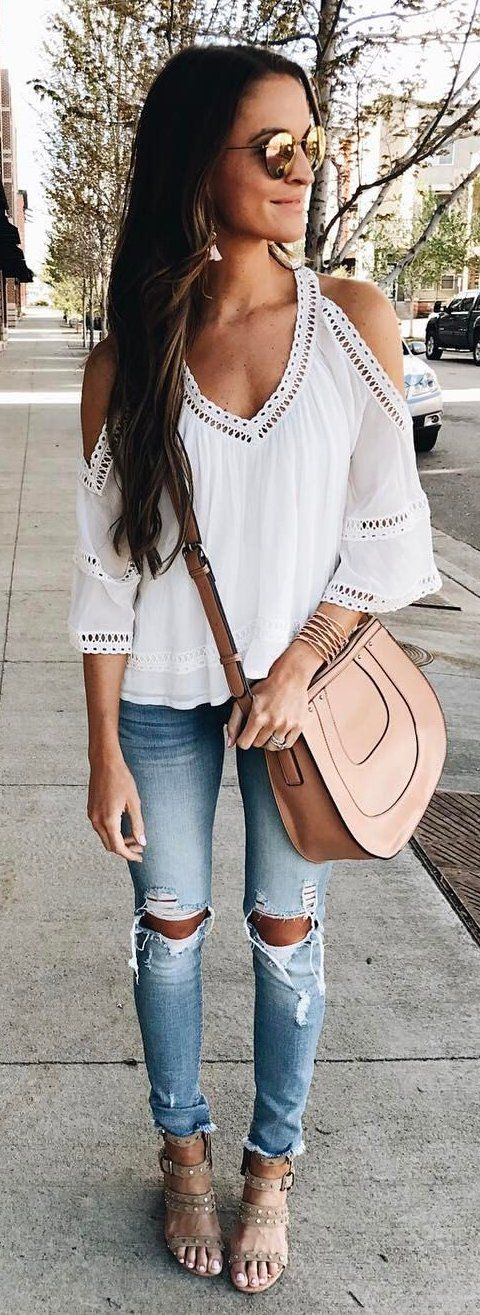 #summer #outfits White Cold Shoulder Blouse + Destroyed Skinny Jeans + Blush Lea...