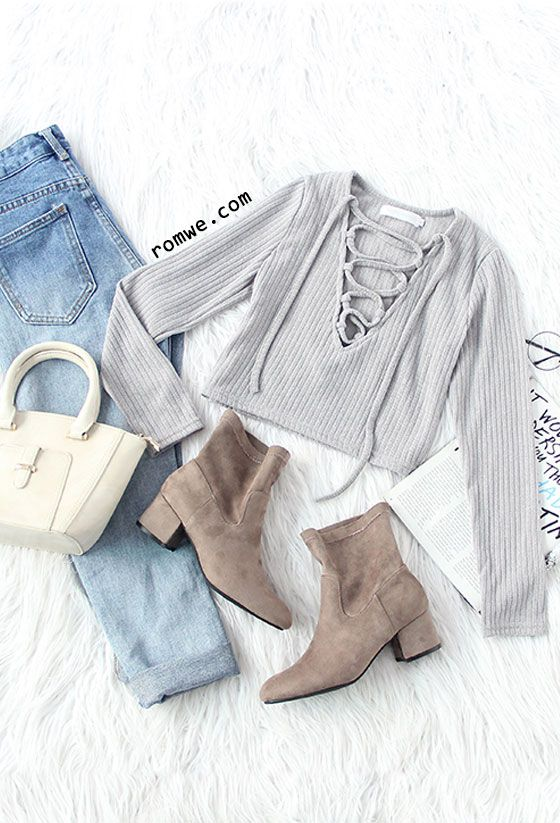 Vertical Striped Lace Up Crop T-shirt with ombre jeans and brown boots from romw...