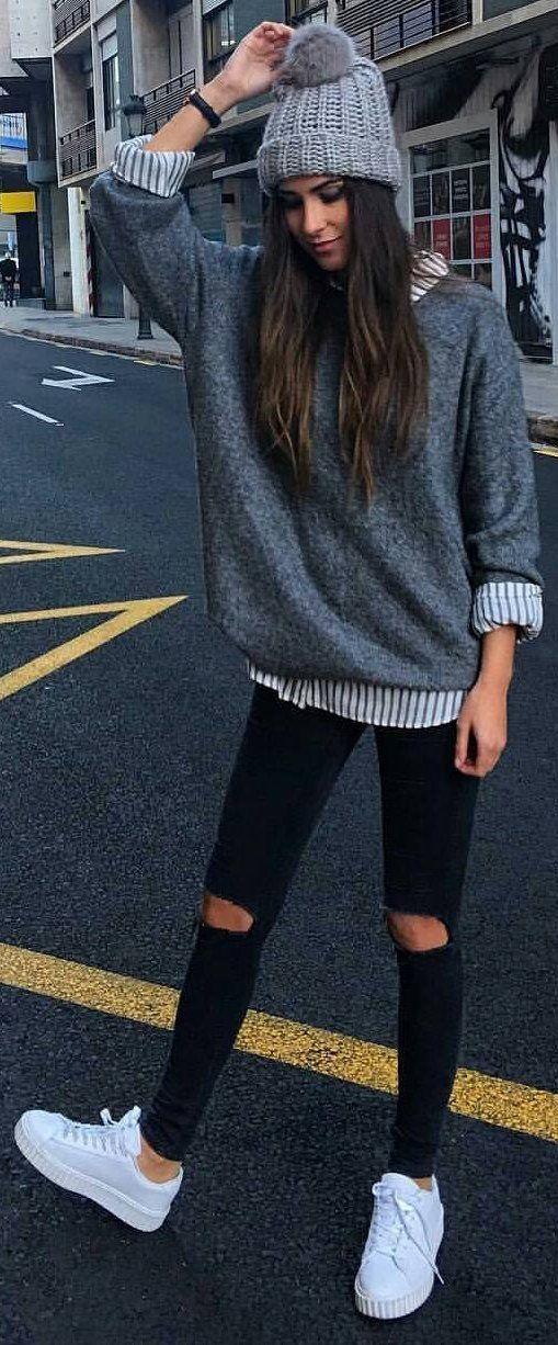 #winter #fashion / Grey Beanie & Knit / Striped Shirt / Destroyed Skinny Jeans /...