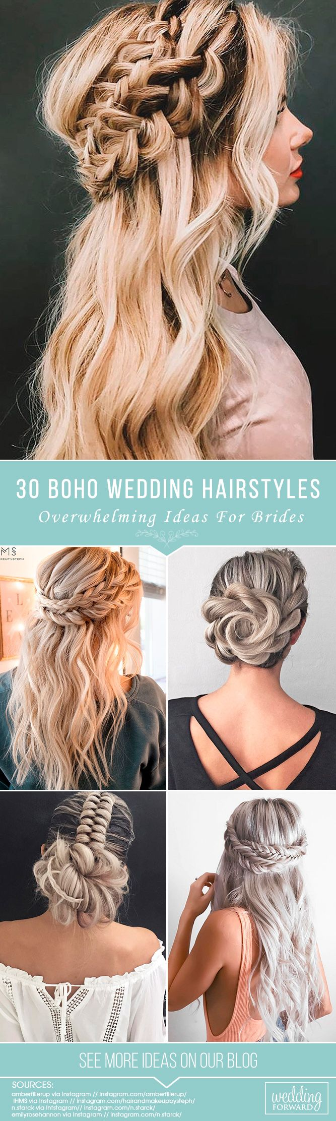 30 Overwhelming Boho Wedding Hairstyles ❤ Here you will find a plethora of boh...