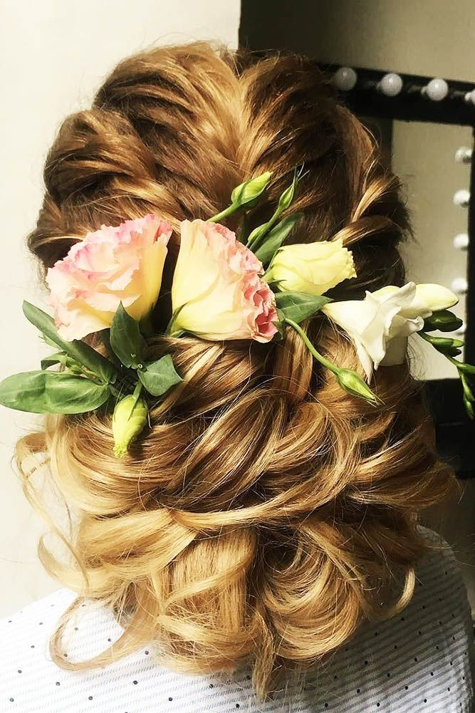 30 Timeless Bridal Hairstyles ❤ timeless bridal hairstyles low updo with flowe...
