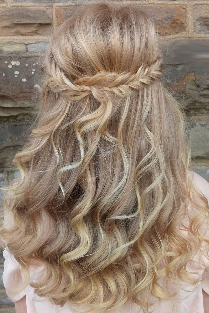 33 Cute Flower Girl Hairstyles ❤ flower girl hairstyles half up with fishtail ...