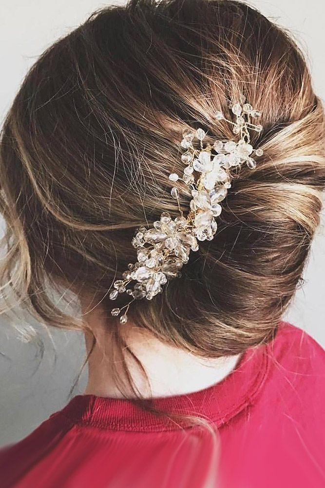 36 Enchanting Wedding Updos ❤ wedding updos french roll with accessory hairbyb...