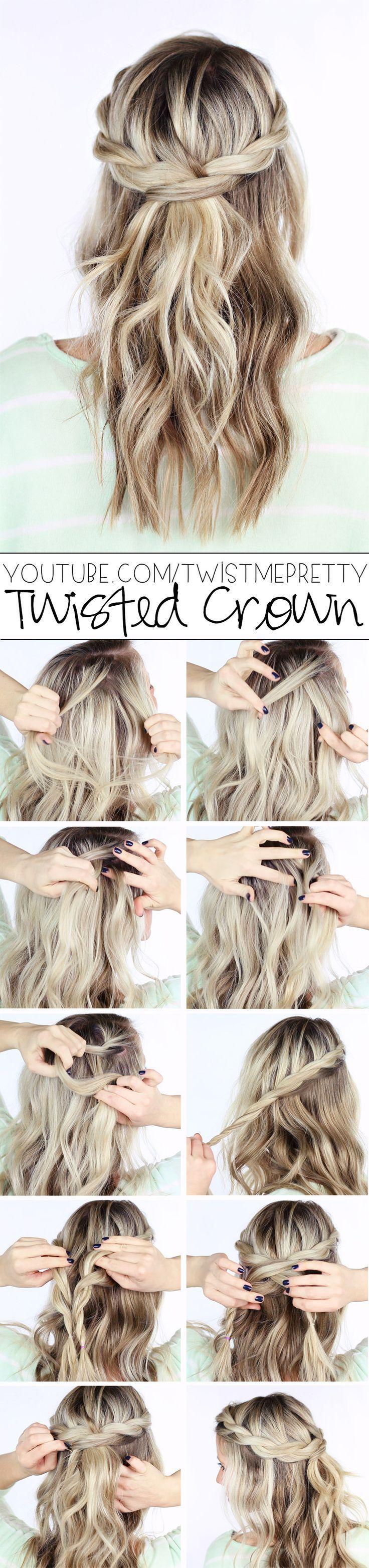 DIY Wedding Hairstyle - Twisted crown braid half up half down hairstyle - Deer P...