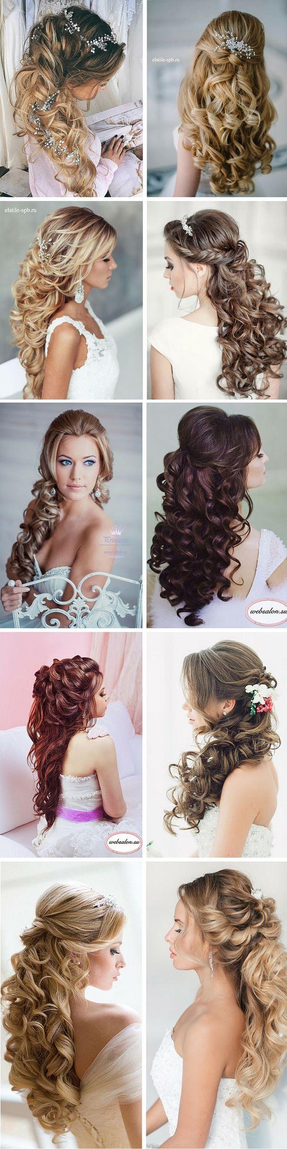 elegant curly half up half down wedding hairstyles / www.himisspuff.co...