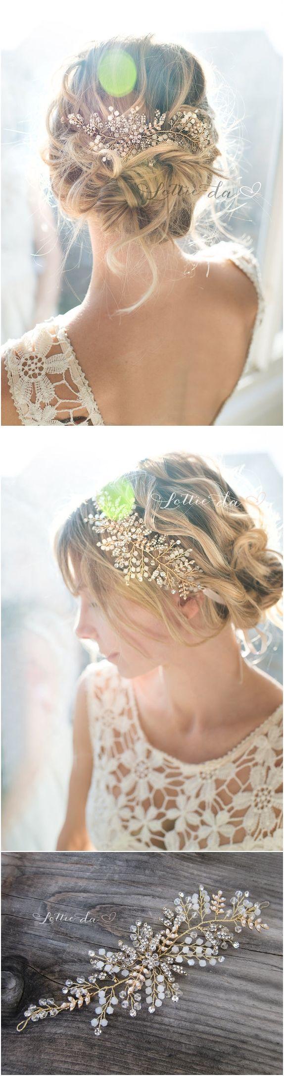 Gold, Antique Gold, Silver, Rose Gold Boho Headpiece, Opal Flower Hair Crown, Ha...
