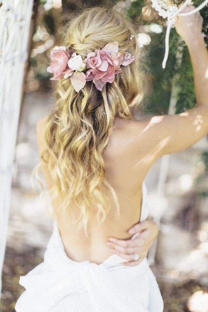 Half Up Half Down Wedding Hairstyle with Flowers / www.deerpearlflow...