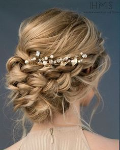 Beautiful loose braided updos bridal hairstyle perfect for any wedding venue - T...