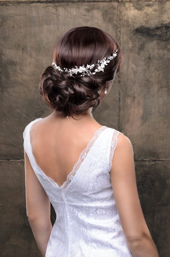 Bridal hairpiece Wedding hairpiece Bridal headband Bridal hair piece Bridal head...