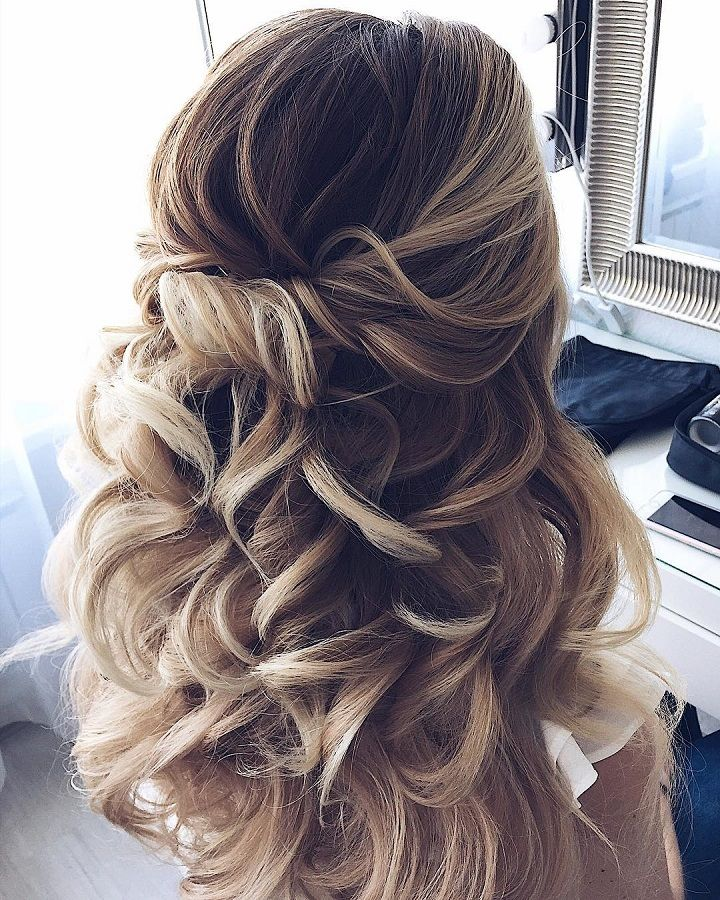 HALF UP HALF DOWN WAVES HAIRSTYLE – PARTIAL UPDO WEDDING HAIRSTYLE IDEAS. I li...