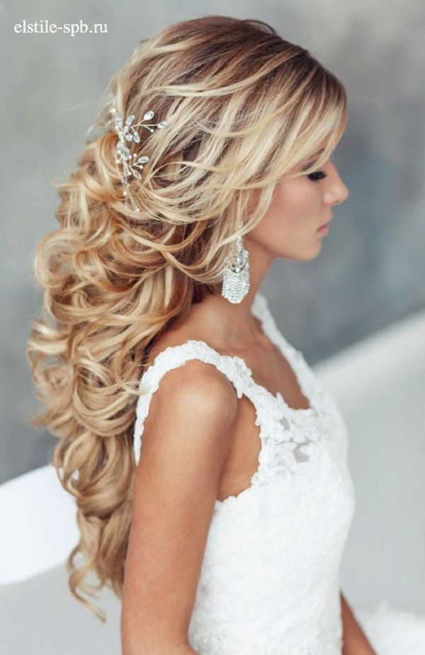 Bridal Hairstyles Long Curly Half Up Half Down Wedding Hairstyle